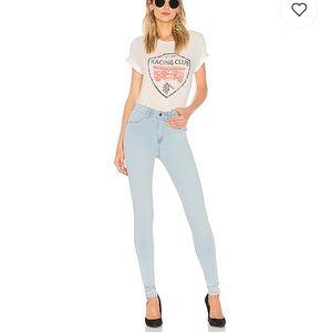 High waist light denim leggings